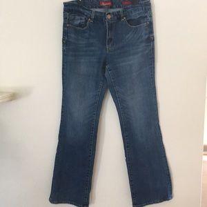 7 Seven Bootcut Stretch Distressed Jean. Size 12